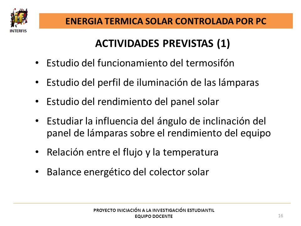 Estudio del funcionamiento del termosifón Estudio del perfil de iluminación de las lámparas Estudio del rendimiento del panel solar Estudiar la influe