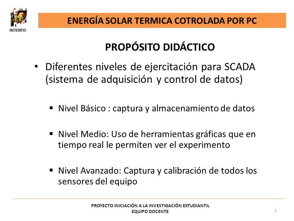 PROPÓSITO DIDÁCTICO Diferentes niveles de ejercitación para SCADA (sistema de adquisición y control de datos) Nivel Básico : captura y almacenamiento