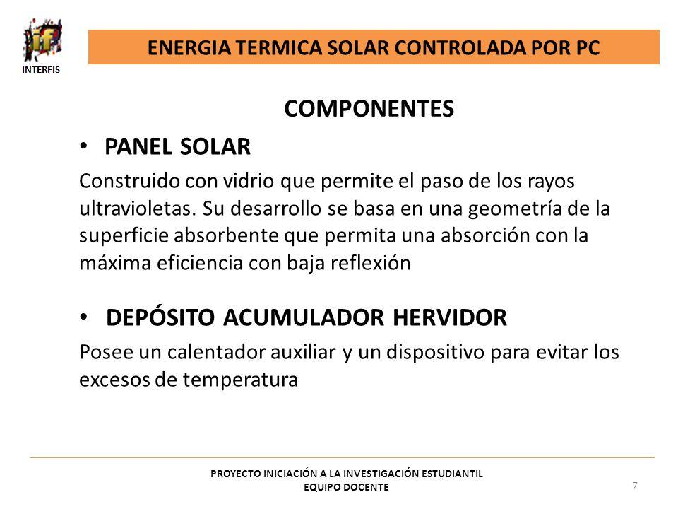 LÁMPARAS O RADIADORES Emiten radiación similar a la del sol y son indicadas para pruebas de materiales según DIN 50010 Simula tres modos de funcionamiento: 1.Con todas las lámparas encendidas alcanza hasta 60ºC en la superficie de los colectores solares 2.Con la mitad alcanza hasta 40ºC 3.Con una lámpara encendida BOMBA Permite realizar una convección forzada ENERGIA TERMICA SOLAR CONTROLADA POR PC PROYECTO INICIACIÓN A LA INVESTIGACIÓN ESTUDIANTIL EQUIPO DOCENTE 8 COMPONENTES