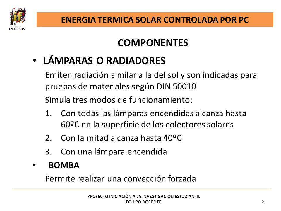LÁMPARAS O RADIADORES Emiten radiación similar a la del sol y son indicadas para pruebas de materiales según DIN 50010 Simula tres modos de funcionami