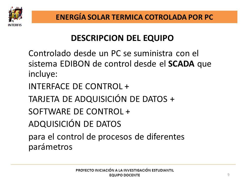 DESCRIPCION DEL EQUIPO Controlado desde un PC se suministra con el sistema EDIBON de control desde el SCADA que incluye: INTERFACE DE CONTROL + TARJET