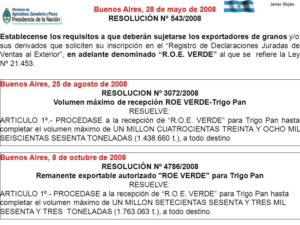 Buenos Aires, 28 de mayo de 2008 RESOLUCIÓN Nº 543/2008 Establecense los requisitos a que deberán sujetarse los exportadores de granos y/o sus derivados que soliciten su inscripción en el Registro de Declaraciones Juradas de Ventas al Exterior, en adelante denominado R.O.E.