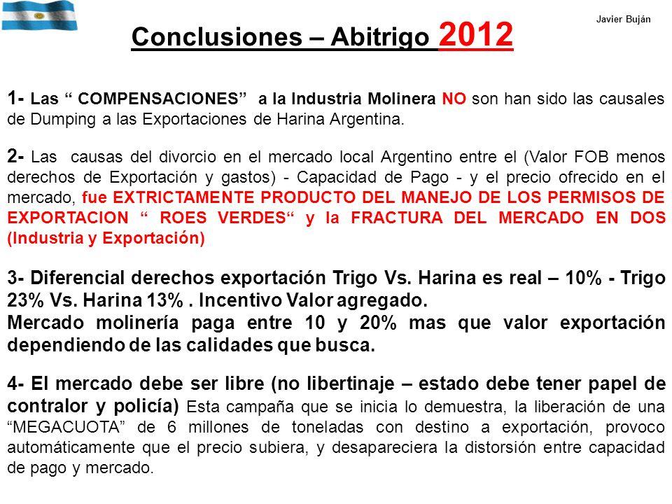 Conclusiones – Abitrigo 2012 1- Las COMPENSACIONES a la Industria Molinera NO son han sido las causales de Dumping a las Exportaciones de Harina Argentina.