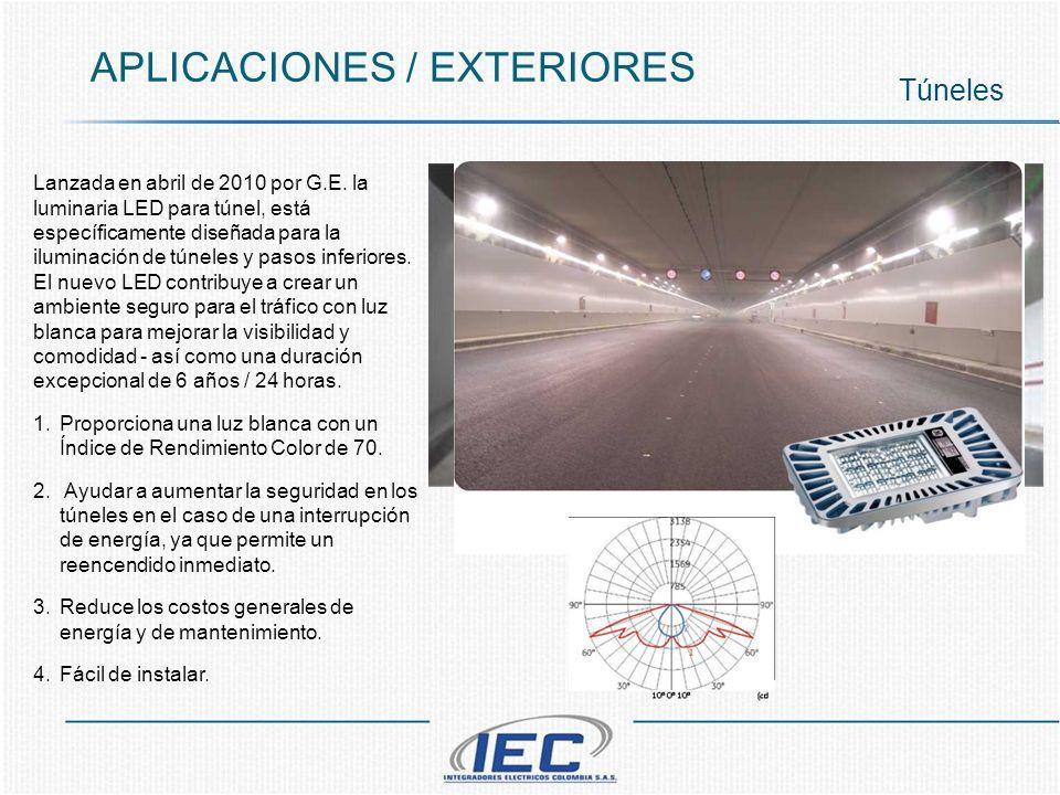 APLICACIONES / EXTERIORES Túneles Lanzada en abril de 2010 por G.E. la luminaria LED para túnel, está específicamente diseñada para la iluminación de