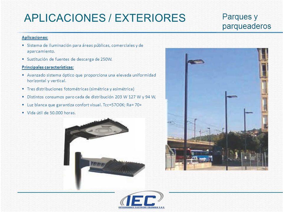 APLICACIONES / EXTERIORES Parques y parqueaderos Aplicaciones: Sistema de iluminación para áreas públicas, comerciales y de aparcamiento. Sustitución