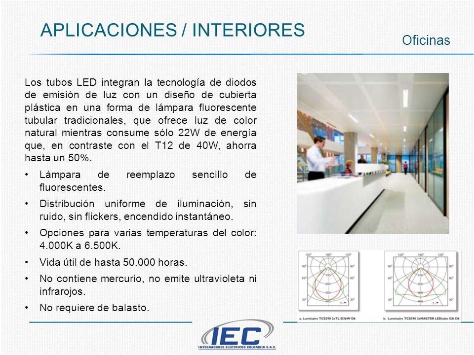 APLICACIONES / INTERIORES Oficinas Los tubos LED integran la tecnología de diodos de emisión de luz con un diseño de cubierta plástica en una forma de lámpara fluorescente tubular tradicionales, que ofrece luz de color natural mientras consume sólo 22W de energía que, en contraste con el T12 de 40W, ahorra hasta un 50%.