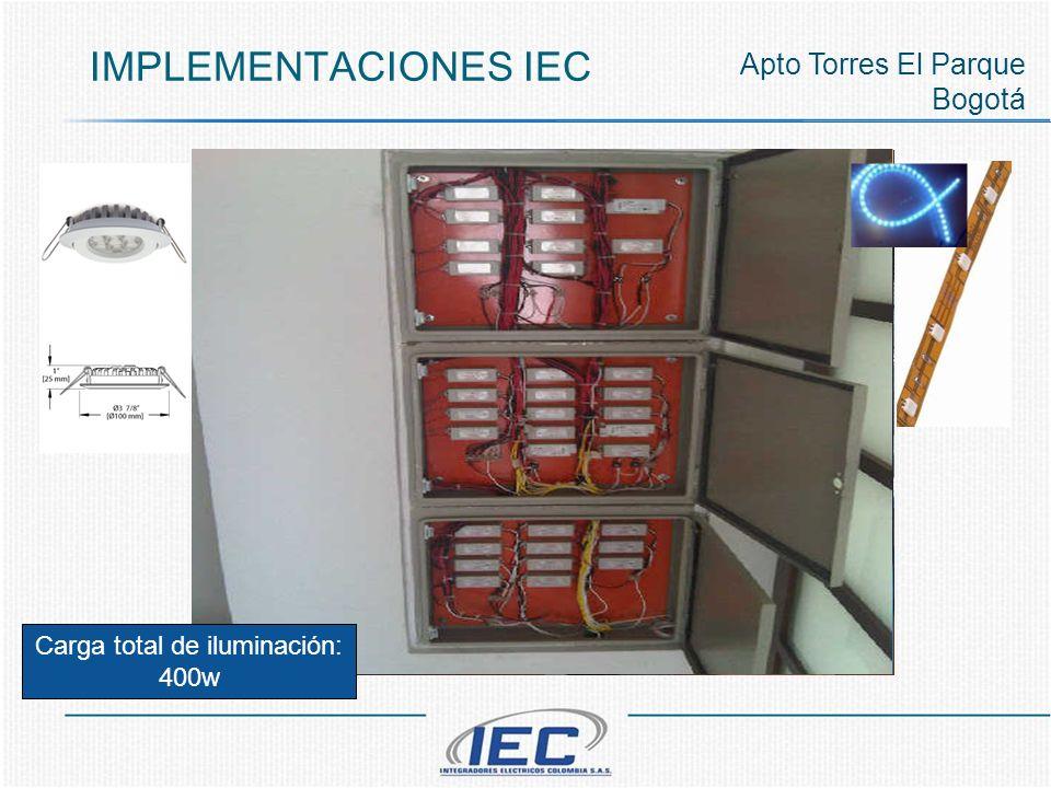 IMPLEMENTACIONES IEC Apto Torres El Parque Bogotá Carga total de iluminación: 400w