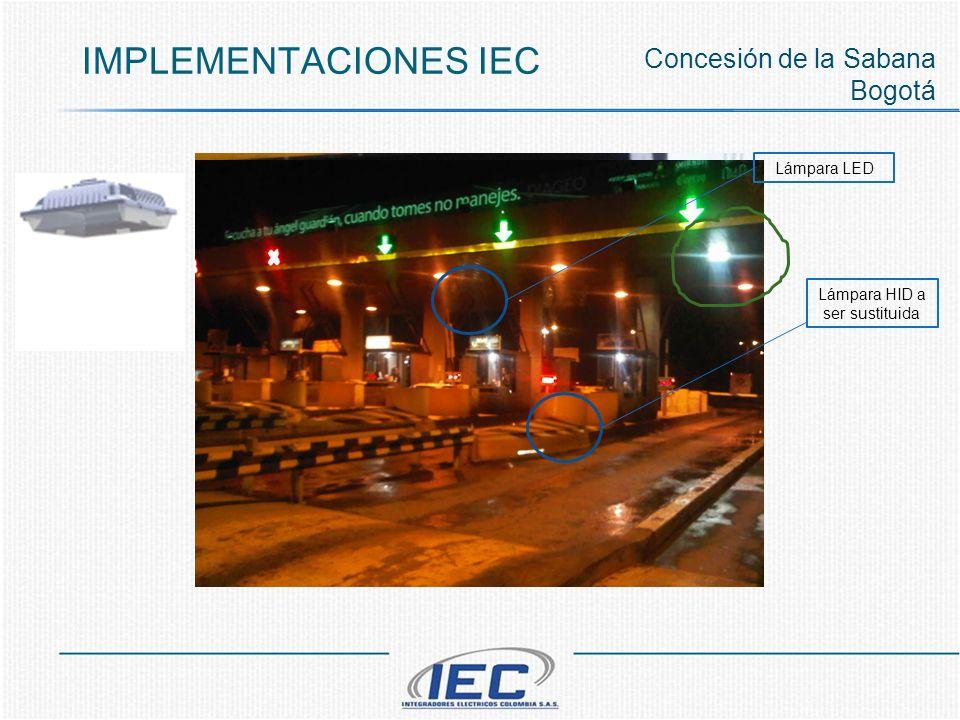IMPLEMENTACIONES IEC Concesión de la Sabana Bogotá Lámpara HID a ser sustituida Lámpara LED