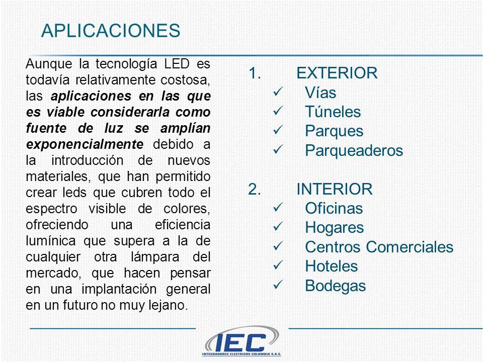 APLICACIONES 1.EXTERIOR Vías Túneles Parques Parqueaderos 2.INTERIOR Oficinas Hogares Centros Comerciales Hoteles Bodegas Aunque la tecnología LED es