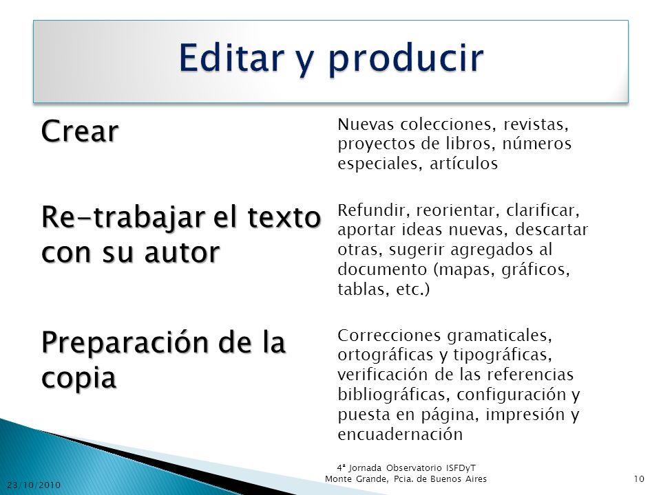 Crear Nuevas colecciones, revistas, proyectos de libros, números especiales, artículos Re-trabajar el texto con su autor Refundir, reorientar, clarifi