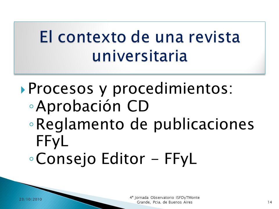 Procesos y procedimientos: Aprobación CD Reglamento de publicaciones FFyL Consejo Editor - FFyL 23/10/2010 4ª Jornada Observatorio ISFDyTMonte Grande,