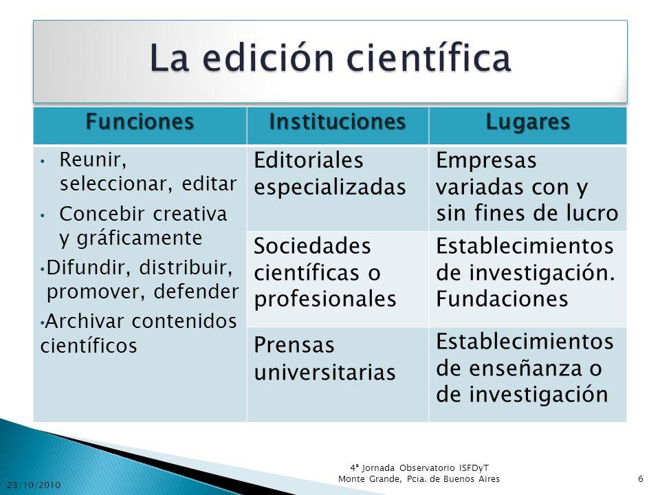 FuncionesInstitucionesLugares Reunir, seleccionar, editar Concebir creativa y gráficamente Difundir, distribuir, promover, defender Archivar contenido