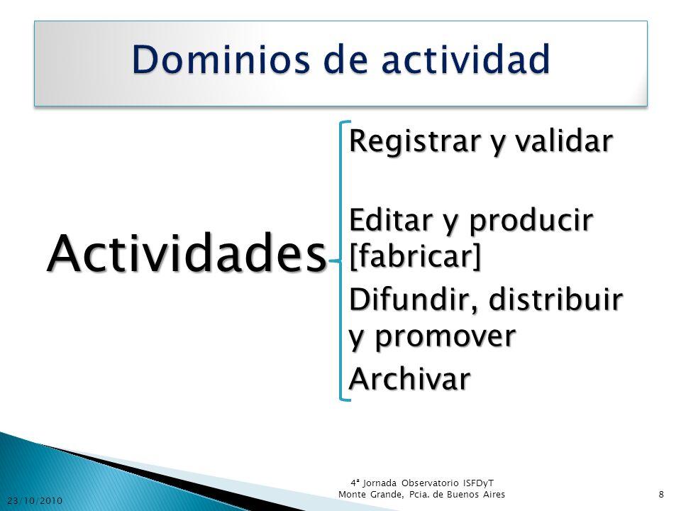 Actividades Registrar y validar Editar y producir [fabricar] Difundir, distribuir y promover Archivar 23/10/2010 4ª Jornada Observatorio ISFDyT Monte