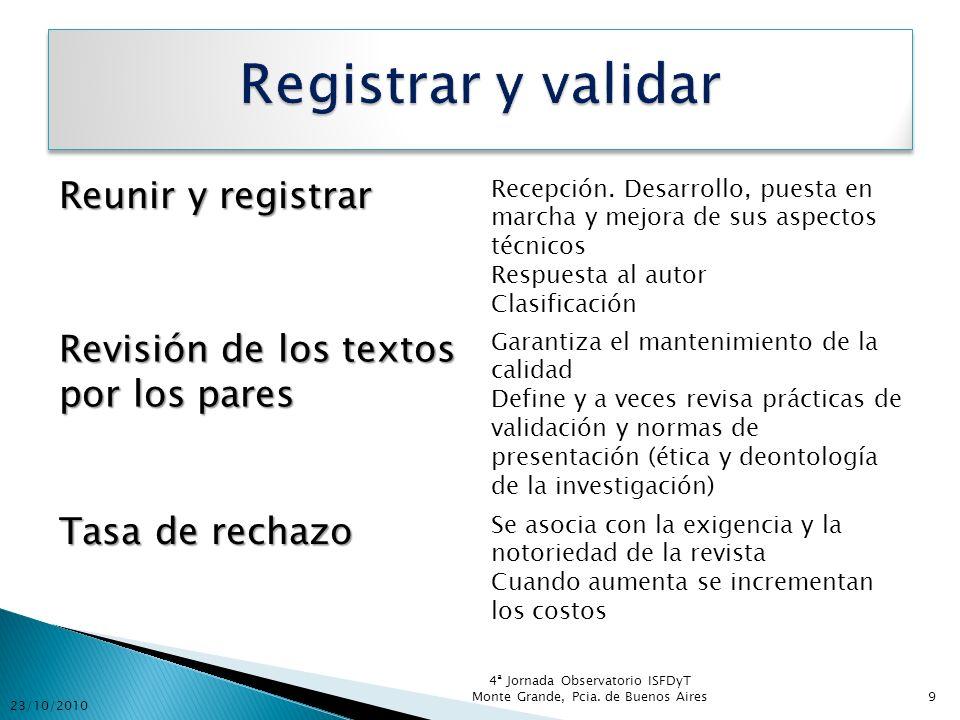 El Comité de Redacción Las reuniones de trabajo Las nuevas secciones Estrategias de financiamiento Estrategias de formación 23/10/2010 4ª Jornada Observatorio ISFDyT Monte Grande, Pcia.