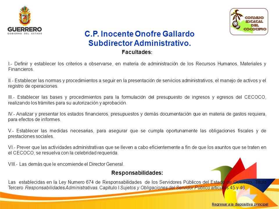 Regresar a la diapositiva principal C.P. Inocente Onofre Gallardo Subdirector Administrativo.