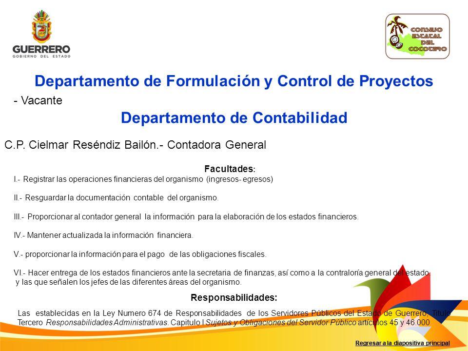 Regresar a la diapositiva principal Departamento de Formulación y Control de Proyectos - Vacante Departamento de Contabilidad C.P.