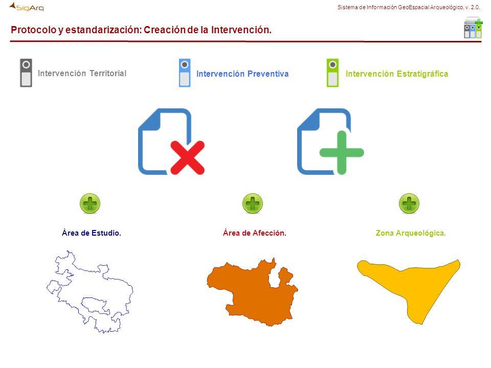 Protocolo y estandarización: Creación de la Intervención. Àrea de Estudio. Intervención Territorial Àrea de Afección. Intervención Preventiva Zona Arq