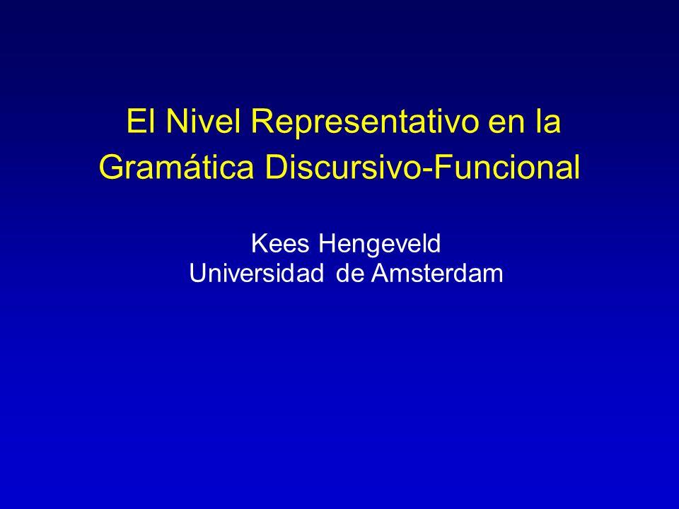 El Nivel Representativo en la Gramática Discursivo-Funcional Kees Hengeveld Universidad de Amsterdam