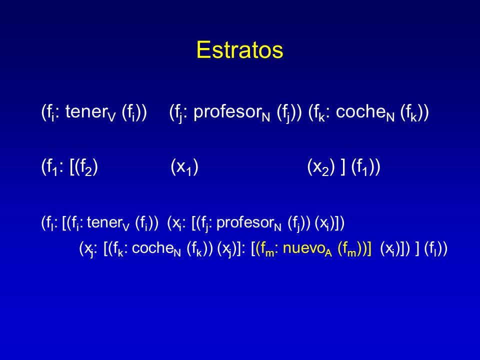 Estratos (f i : tener V (f i )) (f j : profesor N (f j )) (f k : coche N (f k )) (f 1 : [(f 2 ) (x 1 ) (x 2 ) ] (f 1 )) (f l : [(f i : tener V (f i ))