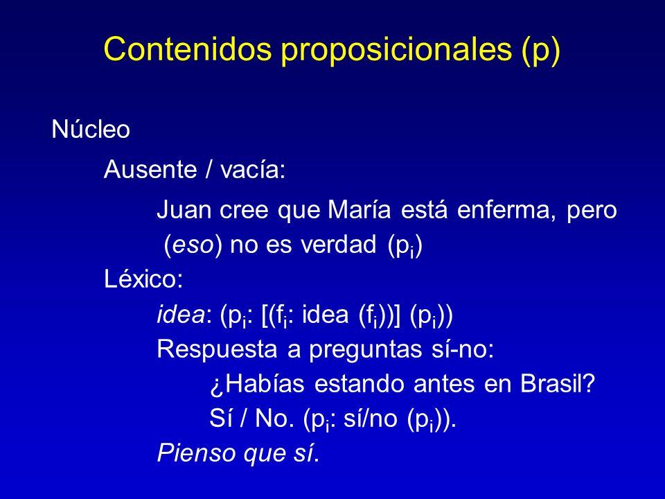 Contenidos proposicionales (p) Núcleo Ausente / vacía: Juan cree que María está enferma, pero (eso) no es verdad (p i ) Léxico: idea: (p i : [(f i : i