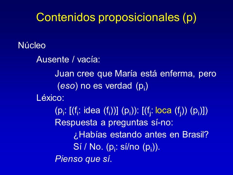 Contenidos proposicionales (p) Núcleo Ausente / vacía: Juan cree que María está enferma, pero (eso) no es verdad (p i ) Léxico: (p i : [(f i : idea (f