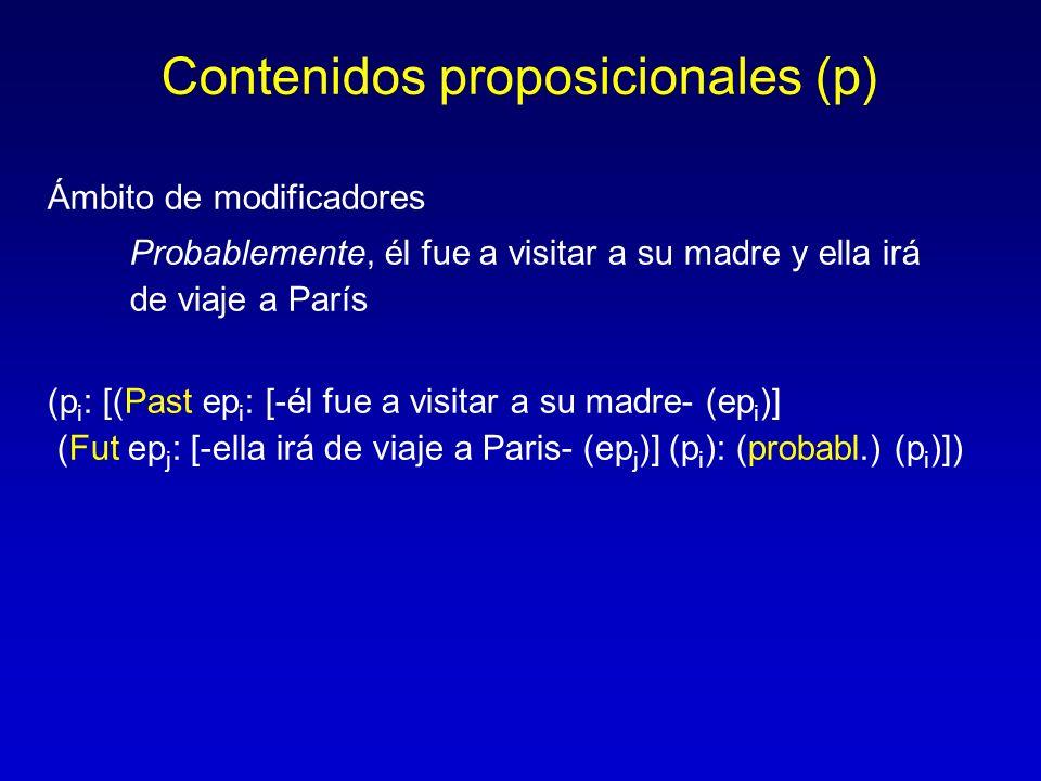 Contenidos proposicionales (p) Ámbito de modificadores Probablemente, él fue a visitar a su madre y ella irá de viaje a París (p i : [(Past ep i : [-é