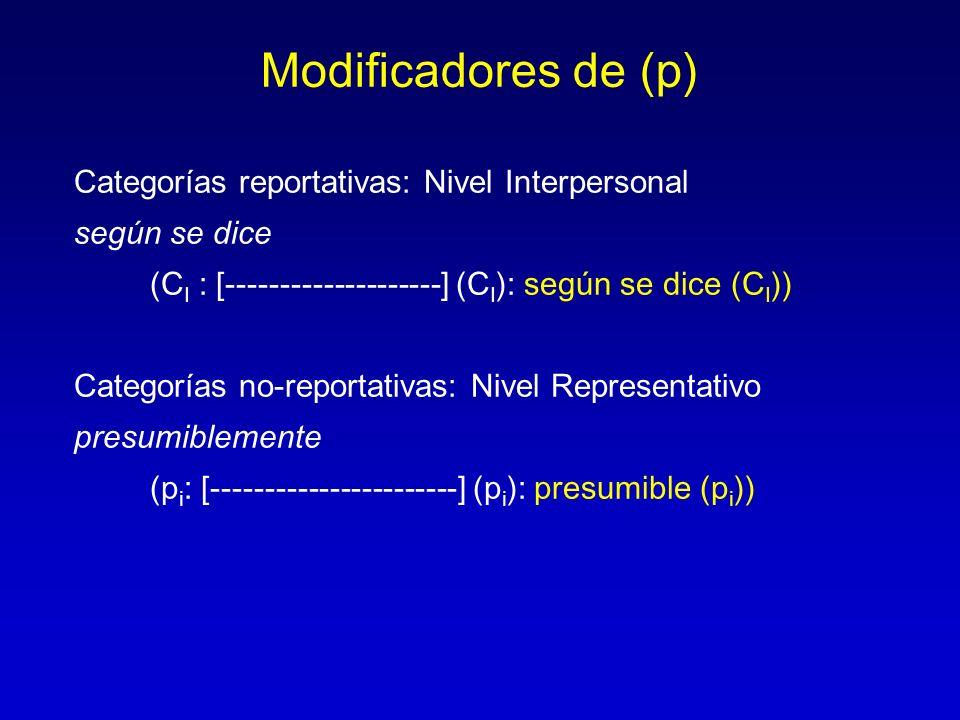 Modificadores de (p) Categorías reportativas: Nivel Interpersonal según se dice (C I : [--------------------] (C I ): según se dice (C I )) Categorías