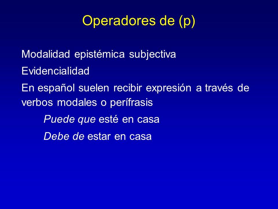 Operadores de (p) Modalidad epistémica subjectiva Evidencialidad En español suelen recibir expresión a través de verbos modales o perífrasis Puede que