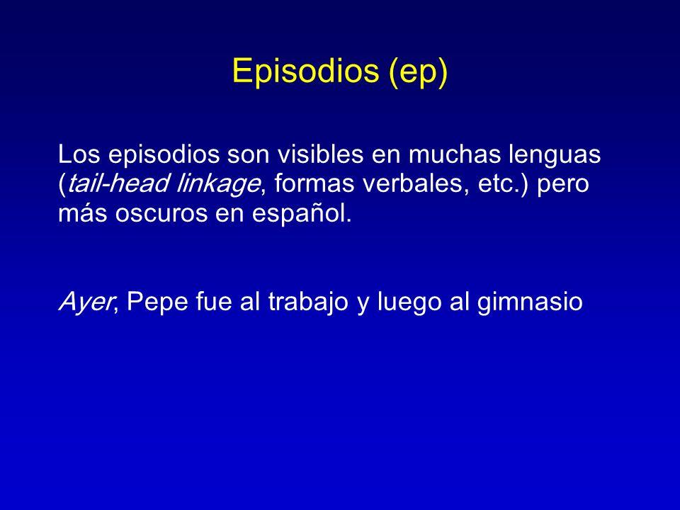 Episodios (ep) Los episodios son visibles en muchas lenguas (tail-head linkage, formas verbales, etc.) pero más oscuros en español. Ayer, Pepe fue al