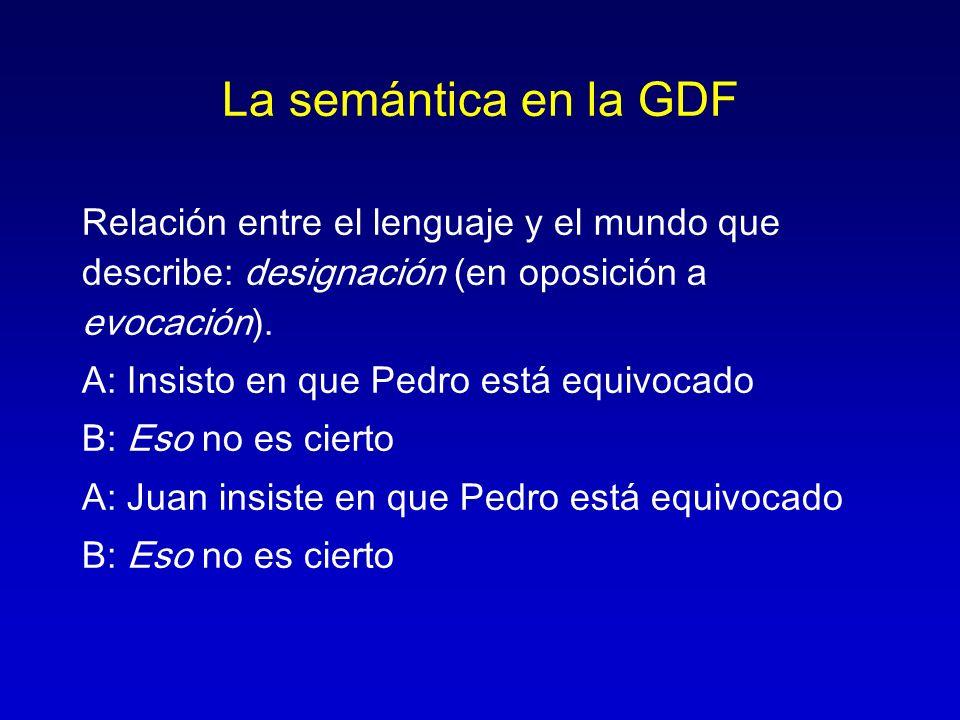 La semántica en la GDF Relación entre el lenguaje y el mundo que describe: designación (en oposición a evocación). A: Insisto en que Pedro está equivo