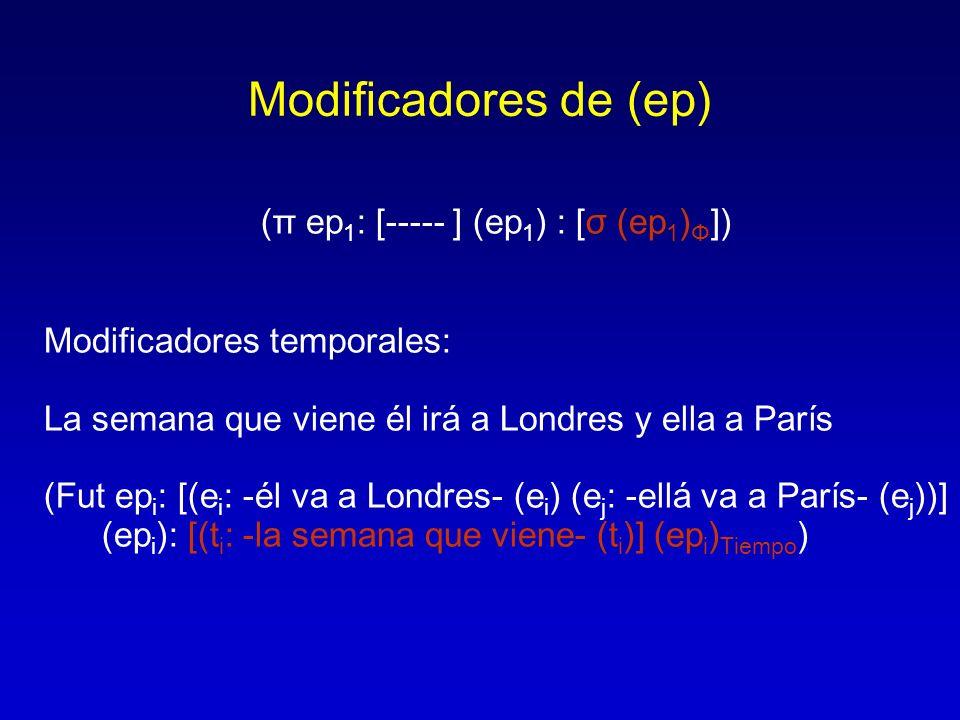 Modificadores de (ep) (π ep 1 : [----- ] (ep 1 ) : [σ (ep 1 ) Φ ]) Modificadores temporales: La semana que viene él irá a Londres y ella a París (Fut