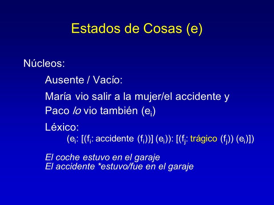 Estados de Cosas (e) Núcleos: Ausente / Vacío: María vio salir a la mujer/el accidente y Paco lo vio también (e i ) Léxico: (e i : [(f i : accidente (