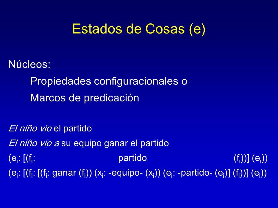 Estados de Cosas (e) Núcleos: Propiedades configuracionales o Marcos de predicación El niño vio el partido El niño vio a su equipo ganar el partido (e