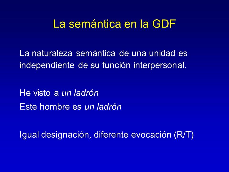 La semántica en la GDF La naturaleza semántica de una unidad es independiente de su función interpersonal. He visto a un ladrón Este hombre es un ladr