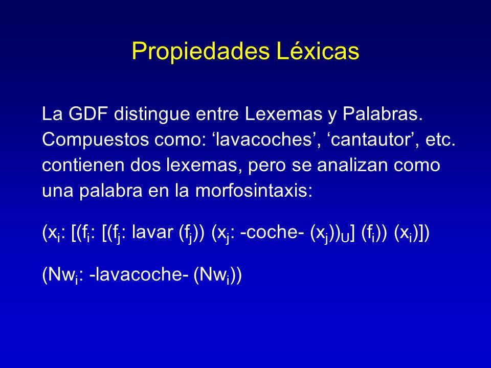 Propiedades Léxicas La GDF distingue entre Lexemas y Palabras. Compuestos como: lavacoches, cantautor, etc. contienen dos lexemas, pero se analizan co