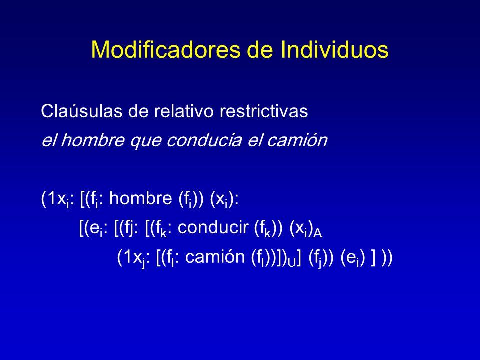 Modificadores de Individuos Claúsulas de relativo restrictivas el hombre que conducía el camión (1x i : [(f i : hombre (f i )) (x i ): [(e i : [(fj: [