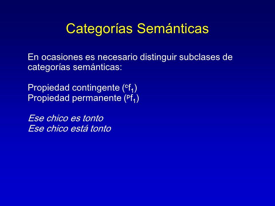 Categorías Semánticas En ocasiones es necesario distinguir subclases de categorías semánticas: Propiedad contingente ( c f 1 ) Propiedad permanente (