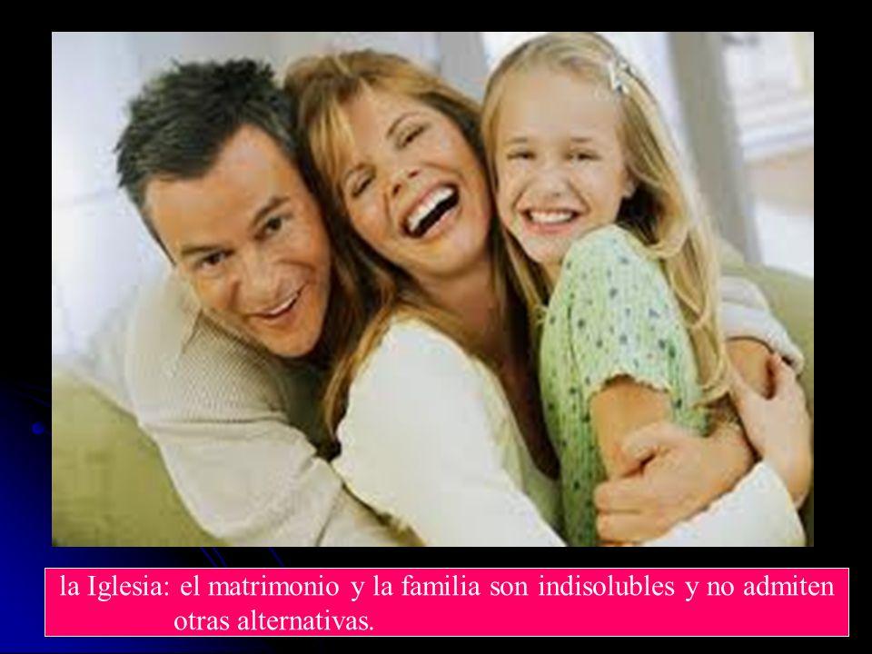 la Iglesia: el matrimonio y la familia son indisolubles y no admiten otras alternativas.