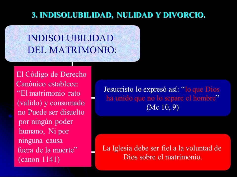 3.INDISOLUBILIDAD, NULIDAD Y DIVORCIO.