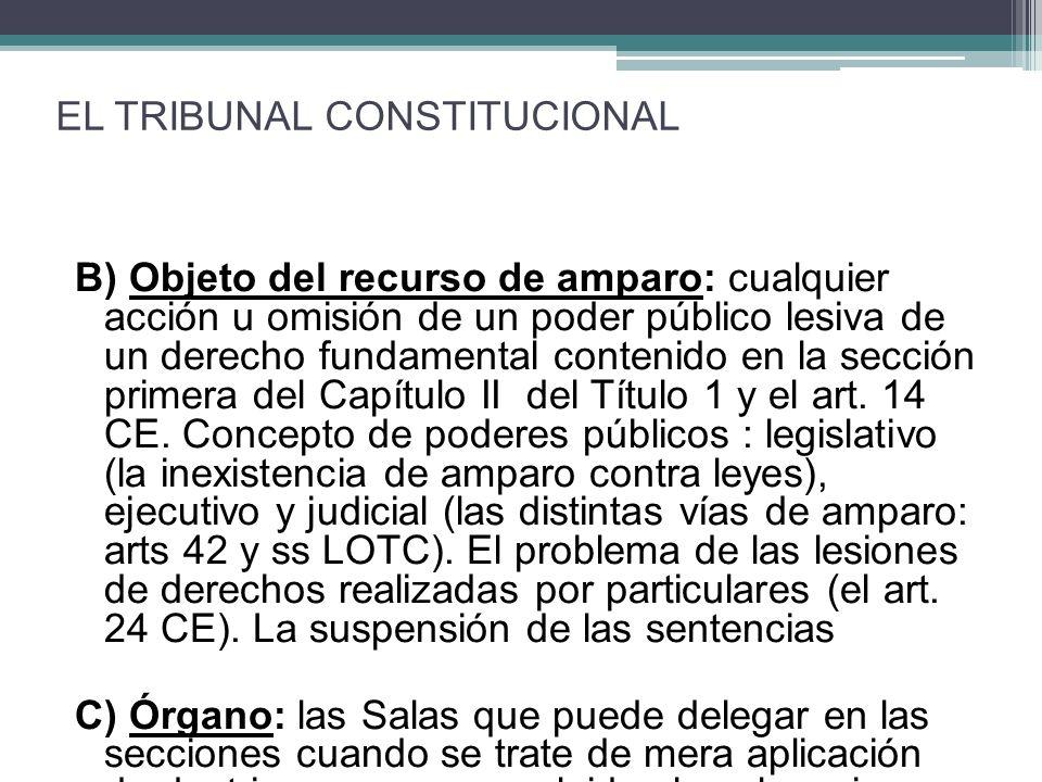 B) Objeto del recurso de amparo: cualquier acción u omisión de un poder público lesiva de un derecho fundamental contenido en la sección primera del Capítulo II del Título 1 y el art.
