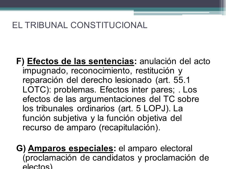 F) Efectos de las sentencias: anulación del acto impugnado, reconocimiento, restitución y reparación del derecho lesionado (art. 55.1 LOTC): problemas