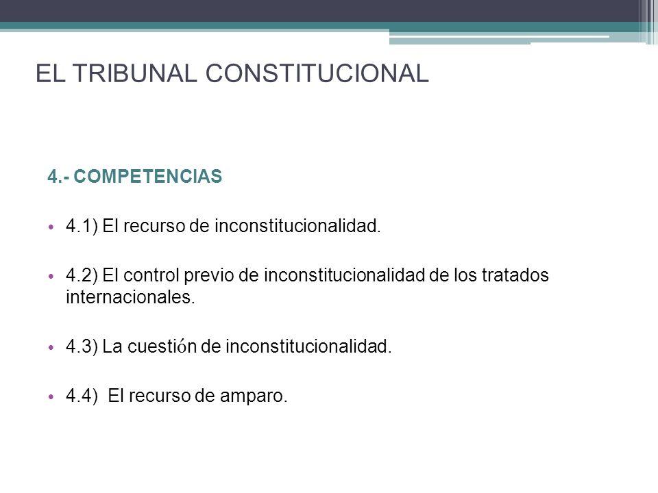 4.- COMPETENCIAS 4.1) El recurso de inconstitucionalidad. 4.2) El control previo de inconstitucionalidad de los tratados internacionales. 4.3) La cues