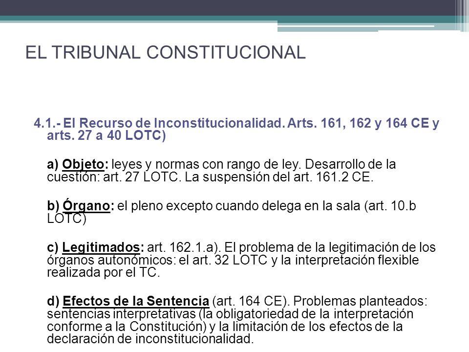4.1.- El Recurso de Inconstitucionalidad. Arts. 161, 162 y 164 CE y arts. 27 a 40 LOTC) a) Objeto: leyes y normas con rango de ley. Desarrollo de la c