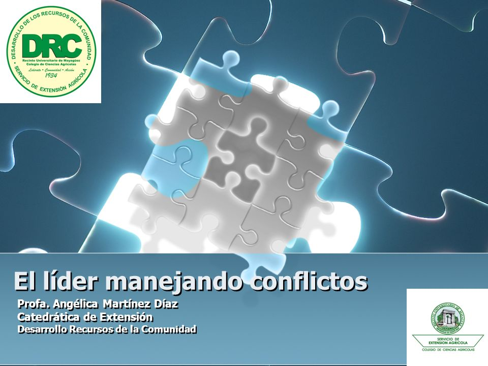 El líder manejando conflictos Profa. Angélica Martínez Díaz Catedrática de Extensión Desarrollo Recursos de la Comunidad Profa. Angélica Martínez Díaz