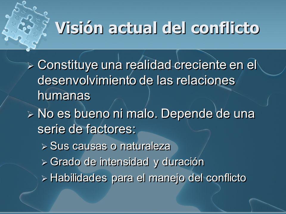 Visión actual del conflicto Constituye una realidad creciente en el desenvolvimiento de las relaciones humanas No es bueno ni malo. Depende de una ser