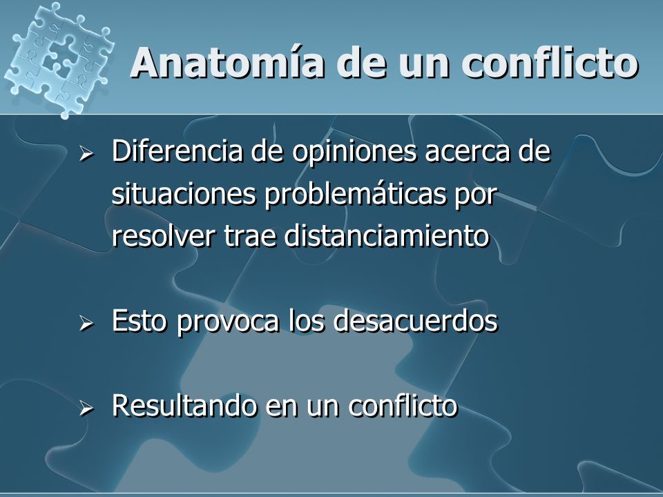 Anatomía de un conflicto Diferencia de opiniones acerca de situaciones problemáticas por resolver trae distanciamiento Esto provoca los desacuerdos Re
