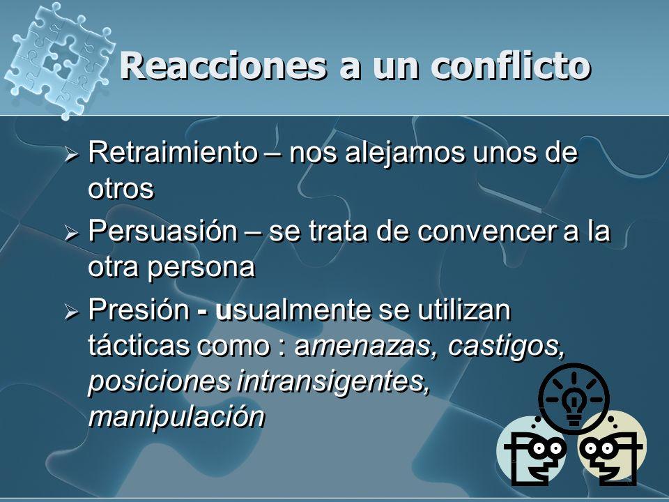 Reacciones a un conflicto Retraimiento – nos alejamos unos de otros Persuasión – se trata de convencer a la otra persona Presión - usualmente se utili