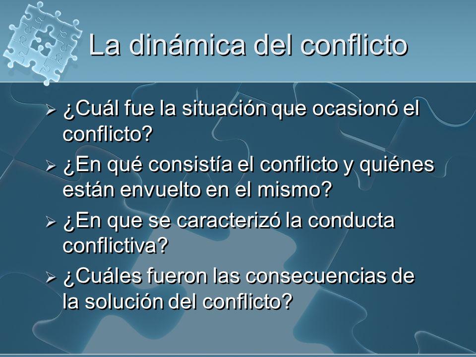 La dinámica del conflicto ¿Cuál fue la situación que ocasionó el conflicto? ¿En qué consistía el conflicto y quiénes están envuelto en el mismo? ¿En q
