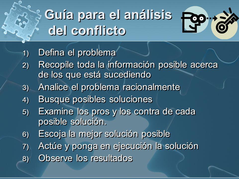 Guía para el análisis del conflicto 1) Defina el problema 2) Recopile toda la información posible acerca de los que está sucediendo 3) Analice el prob