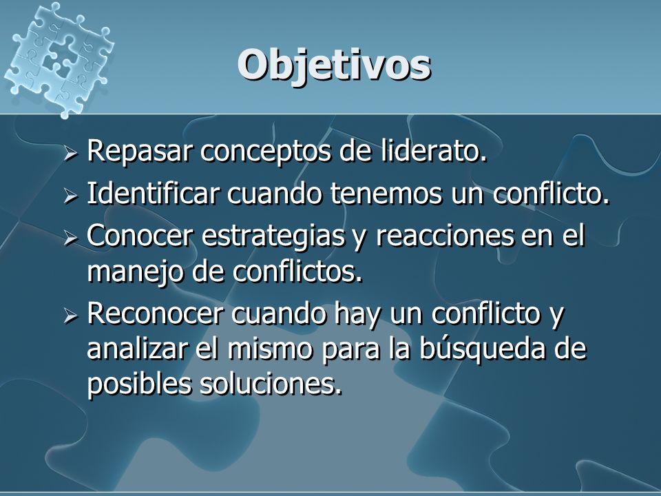 Objetivos Repasar conceptos de liderato. Identificar cuando tenemos un conflicto. Conocer estrategias y reacciones en el manejo de conflictos. Reconoc